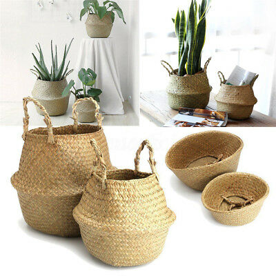 Foldable Nursery Laundry Bag Seagrass Belly Basket Storage Plant Pot Room Decor