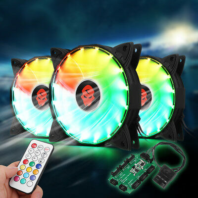 366 Modes 3X RGB Adjustable LED Cooling Fan 120mm With Controller Remote For PC