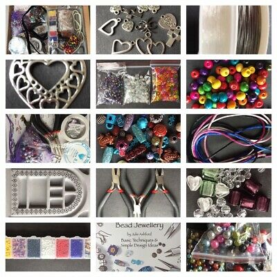 Large Jewellery Making Starter Kit Beads, Threads, Tools, Board