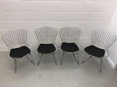 A Set of 4 Retro Metal Wire Chairs - Black Leather Seats - 1970s
