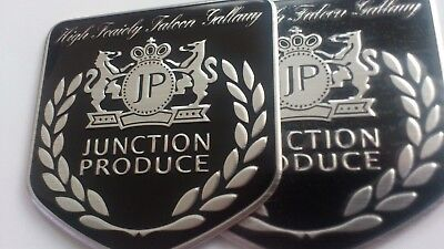 3D Junction Produce Emblem Decal 2x Set Aluminium selbstklebend NEU!