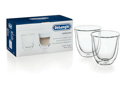 DeLonghi Cappucino Double Wall Thermo 190ml Glasses X 2 - REDUCED PRICE