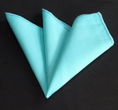 Hankie Pocket Square Cotton Handkerchief Solid Turquoise CH250
