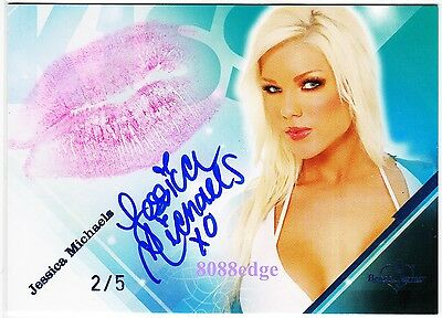 2009 Benchwarmer Lip Kiss Auto: Jessica Michaels #2/5 Autograph Blonde Model
