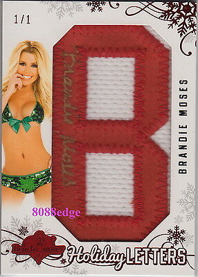 """2012 Benchwarmer Holiday Red Letter """"b"""" Auto:brandie Moses #1/1 Of One Autograph"""