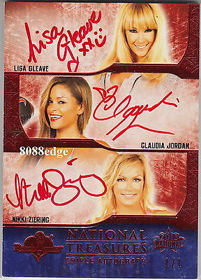 2013 Benchwarmer National Tri Auto: Gleave/Jordan/Ziering #1/1 Of One Autograph
