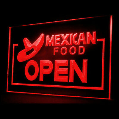 110017 OPEN Mexican Hat Restaurant Cafe Chili Taquitos Delicious LED Light Sign