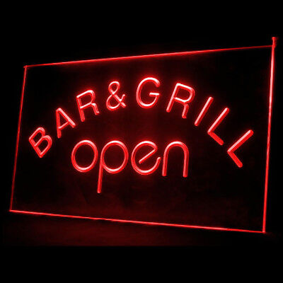 110023 Bar & Grill OPEN Beer Cafe BBQ Chicken Wing Fries Chips LED Light Sign
