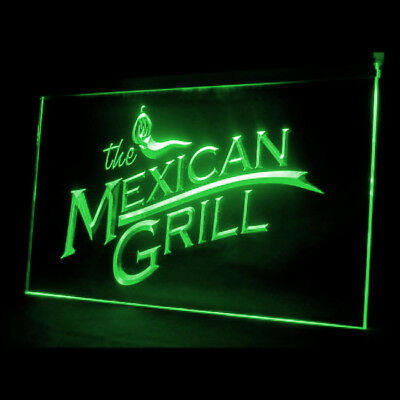110024 The Mexican Grills Green Peppers Spicy Caesar Salad Tacos LED Light Sign