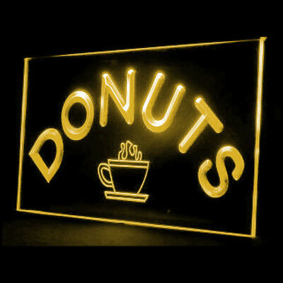 110028 Donuts Cafe Shop New Coffee Freash Bread Cream Beverages LED Light Sign