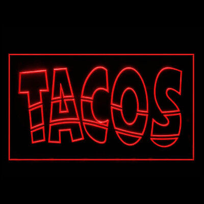 110038 OPEN Mexican Tacos Meat Chili Red Pepper Yummy Delicious LED Light Sign