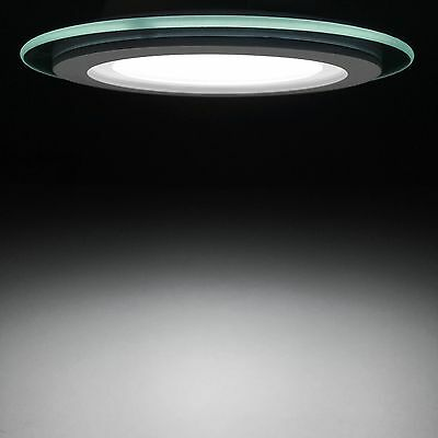 4 inch round glass LED recessed ceiling light - 12 watt with dimmable LED driver