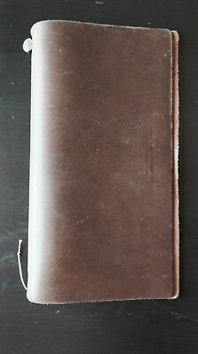 Midori Travelers Notebook Brown Leather Journal Refillable Diary Vintage