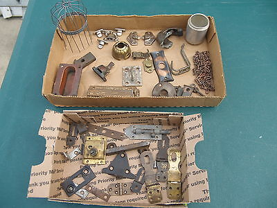 3 Lots Of Antique ** Hardware & Lamp Parts * Latches, Locks, Hooks, Chain, Nice