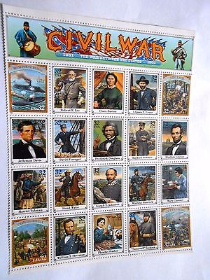 Civil War 1861-1865 Between The States-Mint 20 Stamp Sheet-Stamps