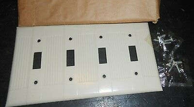 Eagle Bakelite Qty 2 1960 Ivory Ribbed Box 2 Vintage 4 Gang Switch Cover Plate