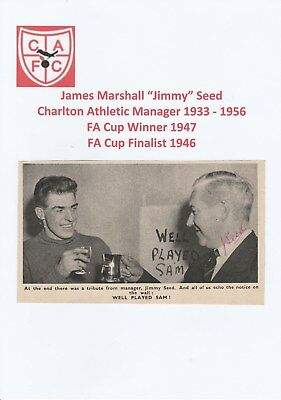 Jimmy Seed Charlton Athletic Mgr 1933-1956 Very Rare Original Signed Mag Cutting