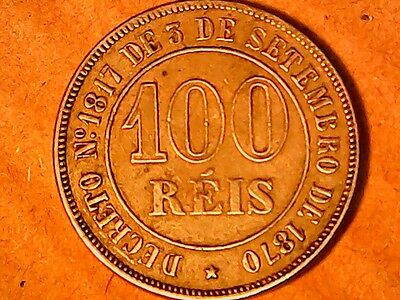 Brazil 1870- 1871 100 Reis  Coin Great Cond.