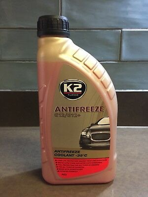K2 Long Life Ready To Use Car Red Antifreeze Coolant, Radiator G12/G12+ -35°C 1L