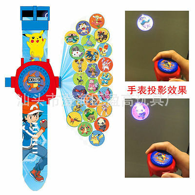 Kids Boy Girl 24 Projection Cute Pokemon Pikachu Monster Figures Wrist Watch Toy