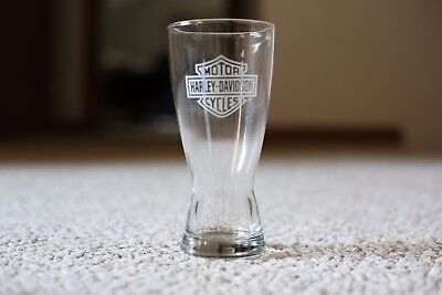 Harley-Davidson Pilsner style beer glass Etched Bar and Shiled