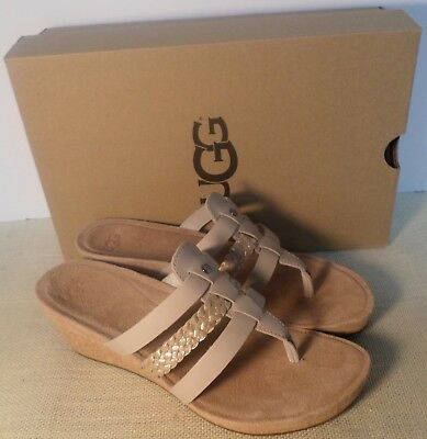 0e80e6f539 Ugg 1016660 Hrc Women's Maddie Horchata Wedge Flip Flop Sandals New In Box