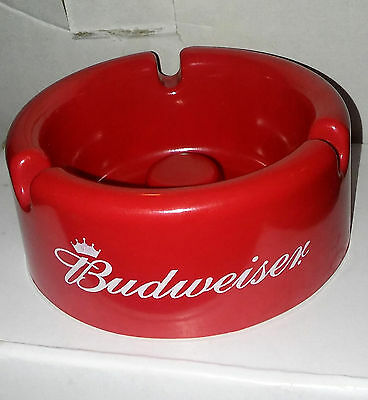 Vintage Budweiser Hard Plastic Red Ashtray New Old Stock Ash Tray Bud Bar Beer