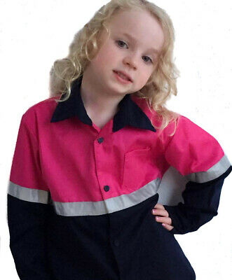 Kids Hi-Vis Shirt Long Sleeve with Reflective Tape in Pink Yellow and Orange
