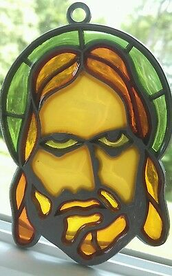 Face of Jesus Painted Glass Suncatcher Religious