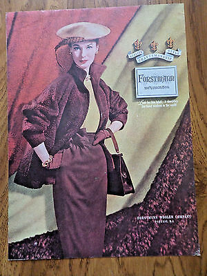 1952 Forstmann 100% Virgin Wool Fashion Ad  Fashions