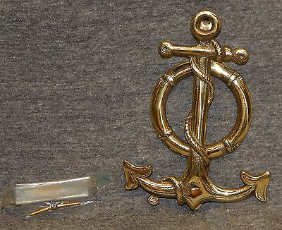 Vintage Brass Anchor w Life Ring Preserver Door Knocker Made In England Nautical