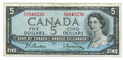 1954 Bank Of Canada Banque Du Canada $5 Five Dollar Note Beattie/rasminsky