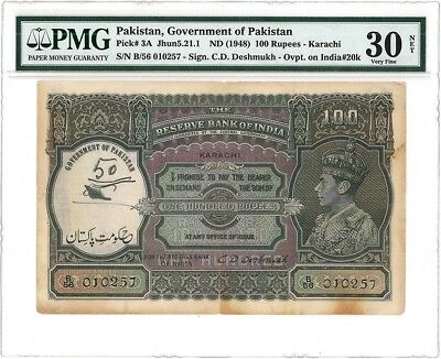 Government of Pakistan pick 3A dated 1948 , 100 rupees - Karachi PMG 30 OVPT