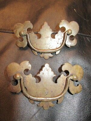 2 Antique / Vintage Brass Tone Draw Pulls