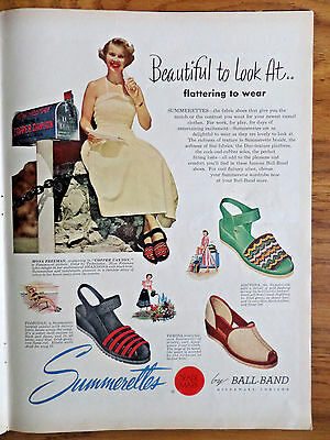 1950 Ball-Band Red Ball Summerettes Ad Mona Freeman Starring in Copper Canyon