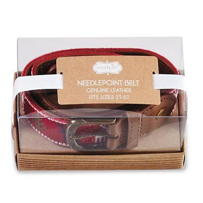 Mud Pie Christmas Young Boys Needlepoint Belt Red Reindeer Holiday Best