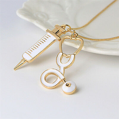 Alloy Medical Stethoscope Syringe Charm Pendant Necklace Chain Women Jewelry WB