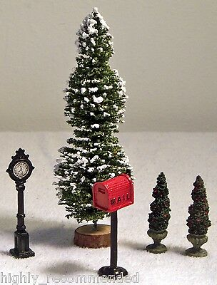 Five Pieces One Large Tree, a Clock, a Mailbox, & Two Shrub Trees Railroad Putz