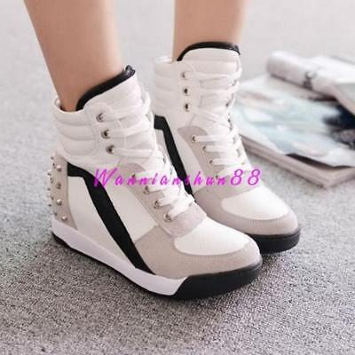 57408a09ed Womens Fashion High Top Rivet Trainer Boots Hidden Wedge Heel Sneakers Shoes