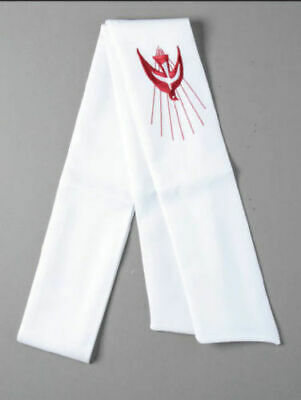 Confirmation Stole with Red Dove Embroidered, 1550mm Long