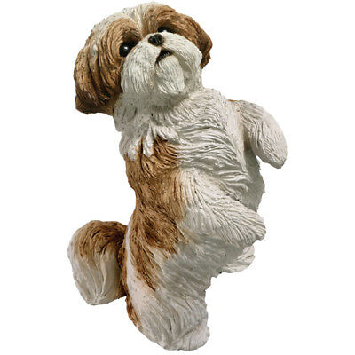 ♛ SANDICAST Dog Figurine Sculpture Shih Tzu Gold White
