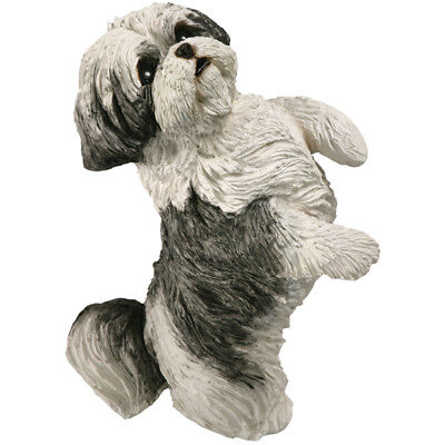 ♛ SANDICAST Dog Figurine Sculpture Shih Tzu Silver White