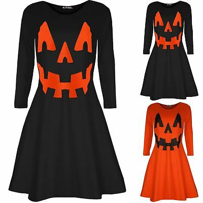 Womens Round Neck Halloween Costume Pumpkin Party Mini Smock Ladies Swing Dress