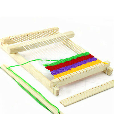 Traditional Wooden Weaving Toy Loom with Accessories Child Craft Box 24x18x3.3cm