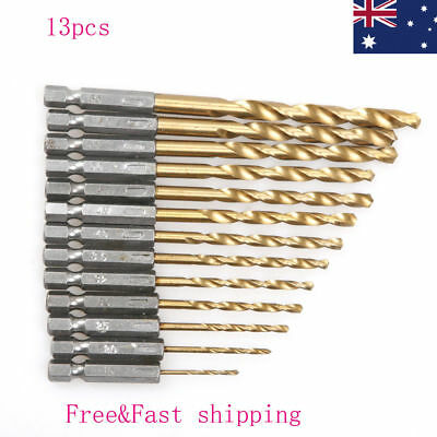 13pcs HSS Quick Change Hex Shank Titanium Cobalt Coated Drill Bit Set