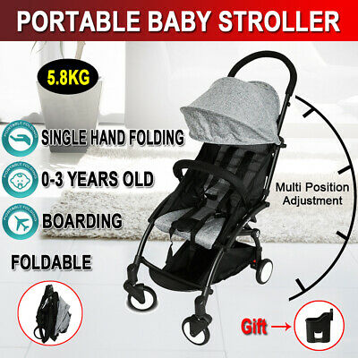 Baby Stroller Infant Pram Compact Lightweight Carry-on Travel Foldable 4 Wheel