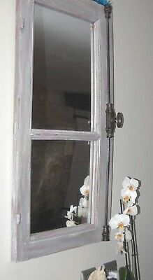 French Oak Window Frame Mirror
