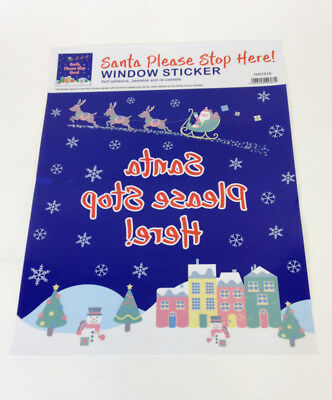 Santa Stop Here Sign - Large Window Sticker Reusable Christmas Decoration
