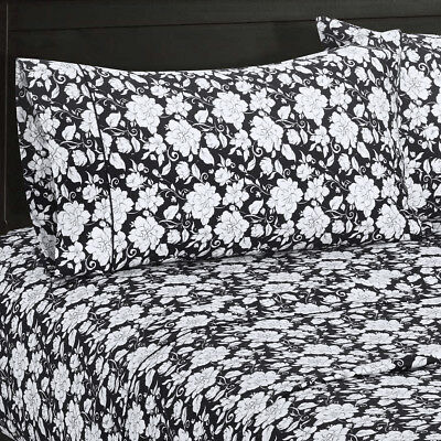 Agnes 300 TC Split King Bed Sheets, 100% Cotton White U0026 Black Printed Sheet