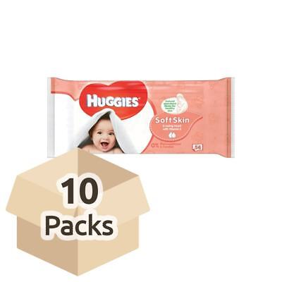 Huggies Soft Skin Baby Wipes - Carton - 10 Packs of 56 Wipes
